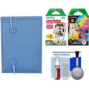 Fujifilm Instax Mini Accordion Photo Album-Blue-with 20 Twin and 10 Rainbow Prints and Cleaning Kit