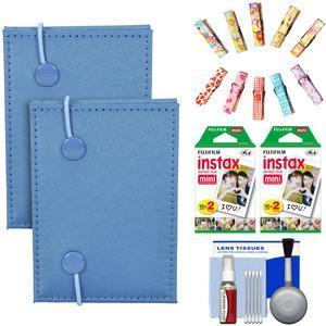 Fujifilm Instax Mini Accordion Photo Album-Blue-- 2 Pack-with 40 Twin Prints and Wood Peg Clips and Cleaning Kit