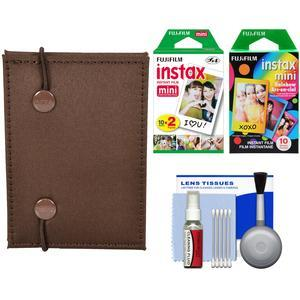 Fujifilm Instax Mini Accordion Photo Album - Brown - with 20 Twin and 10 Rainbow Prints + Cleaning Kit