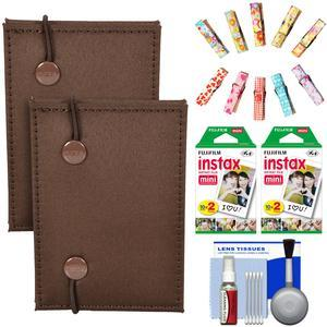 Fujifilm Instax Mini Accordion Photo Album - Brown - - 2 Pack - with 40 Twin Prints + Wood Peg Clips + Cleaning Kit