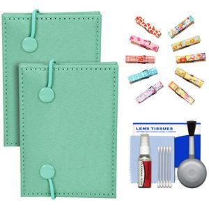 Fujifilm Instax Mini Accordion Photo Album-Green-- 2 Pack-with Wood Peg Clips and Cleaning Kit