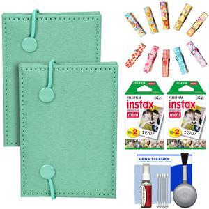 Fujifilm Instax Mini Accordion Photo Album - Green - - 2 Pack - with 40 Twin Prints + Wood Peg Clips + Cleaning Kit