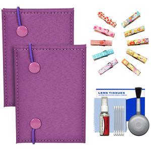 Fujifilm Instax Mini Accordion Photo Album-Purple-- 2 Pack-with Wood Peg Clips and Cleaning Kit