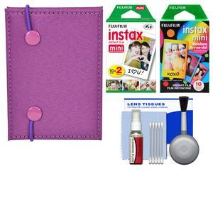 Fujifilm Instax Mini Accordion Photo Album - Purple - with 20 Twin and 10 Rainbow Prints + Cleaning Kit