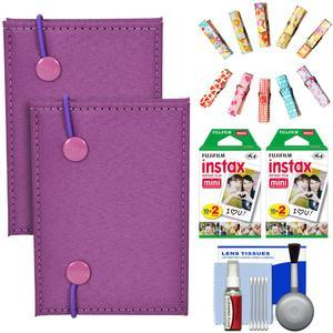 Fujifilm Instax Mini Accordion Photo Album-Purple-- 2 Pack-with 40 Twin Prints and Wood Peg Clips and Cleaning Kit