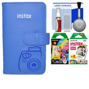 Fujifilm Instax Mini Wallet 108 Photo Album - Cobalt Blue - with 20 Twin and 10 Rainbow Prints + Kit