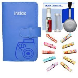 Fujifilm Instax Mini Wallet 108 Photo Album - Cobalt Blue - with Wood Peg Clips + Kit
