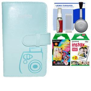 Fujifilm Instax Mini Wallet 108 Photo Album - Ice Blue - with 20 Twin and 10 Rainbow Prints + Kit