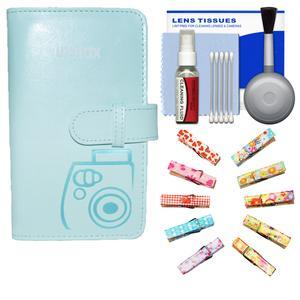 Fujifilm Instax Mini Wallet 108 Photo Album - Ice Blue - with Wood Peg Clips + Kit