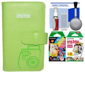 Fujifilm Instax Mini Wallet 108 Photo Album - Lime Green - with 20 Twin and 10 Rainbow Prints + Kit