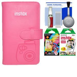 Fujifilm Instax Mini Wallet 108 Photo Album - Flamingo Pink - with 20 Twin and 10 Rainbow Prints + Kit