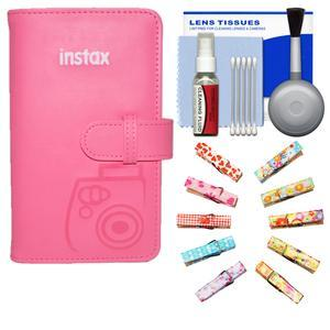 Fujifilm Instax Mini Wallet 108 Photo Album - Flamingo Pink - with Wood Peg Clips + Kit
