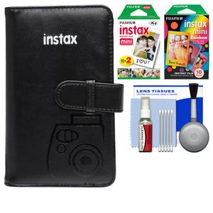 Fujifilm Instax Mini Wallet 108 Photo Album-Black-with 20 Color Prints and 10 Rainbow Prints and Kit