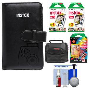 Fujifilm Instax Mini Wallet 108 Photo Album-Black-with 40 Color Prints and 10 Rainbow Prints and Case and Kit