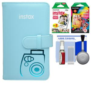 Fujifilm Instax Mini Wallet 108 Photo Album - Blue - with 20 Color Prints and 10 Rainbow Prints + Kit