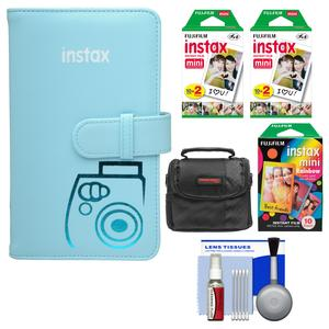 Fujifilm Instax Mini Wallet 108 Photo Album-Blue-with 40 Color Prints and 10 Rainbow Prints and Case and Kit