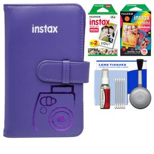 Fujifilm Instax Mini Wallet 108 Photo Album - Grape - with 20 Color Prints and 10 Rainbow Prints + Kit