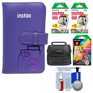 Fujifilm Instax Mini Wallet 108 Photo Album-Grape-with 40 Color Prints and 10 Rainbow Prints and Case and Kit