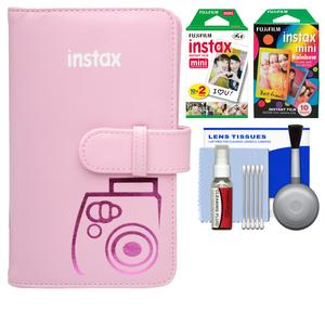 Fujifilm Instax Mini Wallet 108 Photo Album-Pink-with 20 Color Prints and 10 Rainbow Prints and Kit