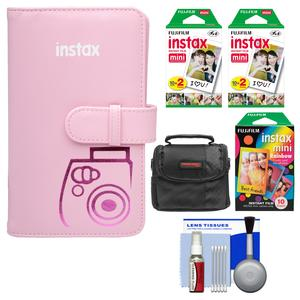 Fujifilm Instax Mini Wallet 108 Photo Album-Pink-with 40 Color Prints and 10 Rainbow Prints and Case and Kit
