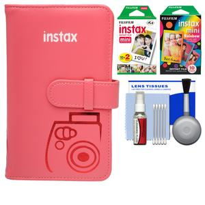 Fujifilm Instax Mini Wallet 108 Photo Album-Raspberry-with 20 Color Prints and 10 Rainbow Prints and Kit