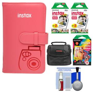 Fujifilm Instax Mini Wallet 108 Photo Album-Raspberry-with 40 Color Prints and 10 Rainbow Prints and Case and Kit