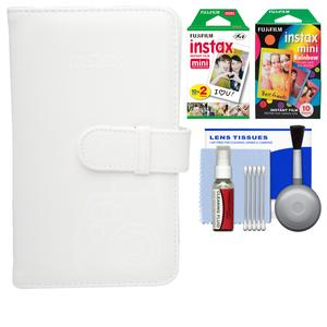 Fujifilm Instax Mini Wallet 108 Photo Album-White-with 20 Color Prints and 10 Rainbow Prints and Kit
