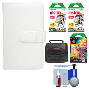 Fujifilm Instax Mini Wallet 108 Photo Album-White-with 40 Color Prints and 10 Rainbow Prints and Case and Kit