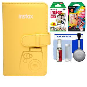 Fujifilm Instax Mini Wallet 108 Photo Album - Yellow - with 20 Color Prints and 10 Rainbow Prints + Kit