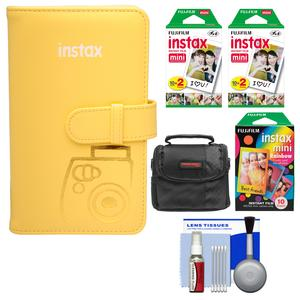 Fujifilm Instax Mini Wallet 108 Photo Album-Yellow-with 40 Color Prints and 10 Rainbow Prints and Case and Kit
