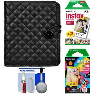 Fujifilm Instax Mini Quilted Album - Holds 40 Photos - Black - with 20 Twin and 10 Rainbow Prints + Kit
