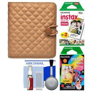 Fujifilm Instax Mini Quilted Album - Holds 40 Photos - Coffee - with 20 Twin and 10 Rainbow Prints + Kit