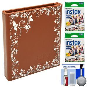 Fujifilm Instax Wide Album - Holds 20 Photos - Brown - with 40 Wide Twin Prints + Kit