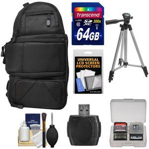 Fujifilm 100D Digital Camera Travel Sling Backpack Case with 64GB Card + Tripod + Kit