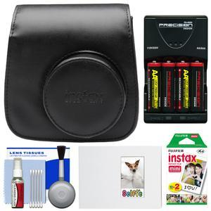 Fujifilm Groovy Camera Case for Instax Mini 8 - Black - with 20 Twin Prints + Album + - 4 - Batteries and Charger + Accessory Kit