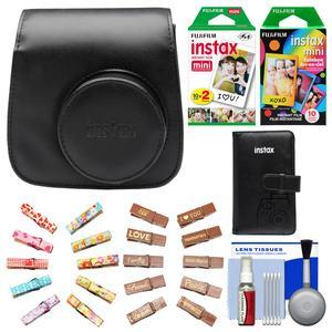 Fujifilm Groovy Camera Case for Instax Mini 8-Black-with Mini Wallet and 20 Twin Color and 10 Rainbow Prints and Wood Peg Clips and Cleaning Kit
