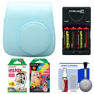Fujifilm Groovy Camera Case for Instax Mini 8-Blue-with 20 Twin and 10 Rainbow Prints and-4-Batteries and Charger and Accessory Kit