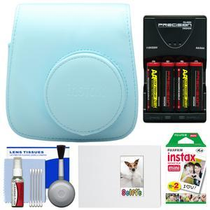 Fujifilm Groovy Camera Case for Instax Mini 8 - Blue - with 20 Twin Prints + Album + - 4 - Batteries and Charger + Accessory Kit