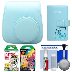Fujifilm Groovy Camera Case for Instax Mini 8-Blue-with 20 Twin and 10 Rainbow Prints and Photo Album and Kit
