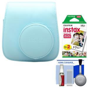 Fujifilm Groovy Camera Case for Instax Mini 8-Blue-with 20 Twin Prints and Cleaning Kit