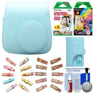 Fujifilm Groovy Camera Case for Instax Mini 8-Blue-with Mini Wallet and 20 Twin Color and 10 Rainbow Prints and Wood Peg Clips and Cleaning Kit