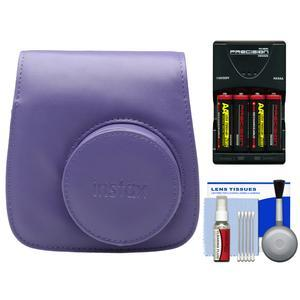 Fujifilm Groovy Camera Case for Instax Mini 8-Grape-with-4-Batteries and Charger and Accessory Kit