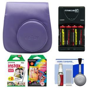 Fujifilm Groovy Camera Case for Instax Mini 8 - Grape - with 20 Twin and 10 Rainbow Prints + - 4 - Batteries and Charger + Accessory Kit
