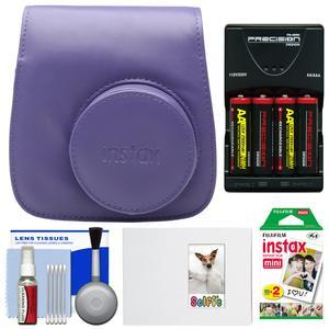 Fujifilm Groovy Camera Case for Instax Mini 8-Grape-with 20 Twin Prints and Album and-4-Batteries and Charger and Accessory Kit