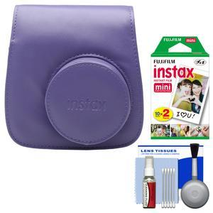 Fujifilm Groovy Camera Case for Instax Mini 8-Grape-with 20 Twin Prints and Cleaning Kit