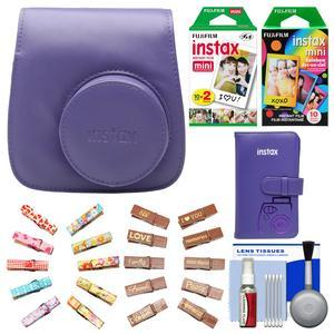 Fujifilm Groovy Camera Case for Instax Mini 8-Grape-with Mini Wallet and 20 Twin Color and 10 Rainbow Prints and Wood Peg Clips and Cleaning Kit