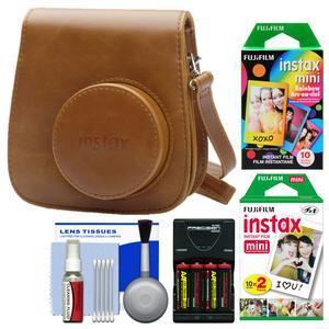 Fujifilm Groovy Camera Case for Instax Mini 9 - Brown - with 20 Twin and 10 Rainbow Prints + - 4 - Batteries and Charger + Cleaning Kit