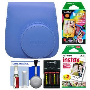 Fujifilm Groovy Camera Case for Instax Mini 9 - Cobalt Blue - with 20 Twin and 10 Rainbow Prints + - 4 - Batteries and Charger + Cleaning Kit