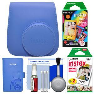 Fujifilm Groovy Camera Case for Instax Mini 9 - Cobalt Blue - with Photo Album + 20 Twin and 10 Rainbow Prints + Cleaning Kit