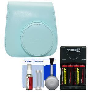Fujifilm Groovy Camera Case for Instax Mini 9 - Ice Blue - with - 4 - Batteries and Charger + Cleaning Kit